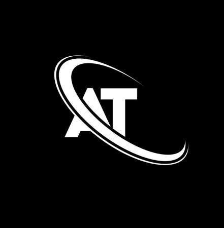 AT logo. A T design. White AT letter. AT/A T letter logo design. Initial letter AT linked circle uppercase monogram logo.