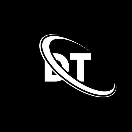 DT logo. D T design. White DT letter. DT/D T letter logo design. Initial letter DT linked circle uppercase monogram logo.