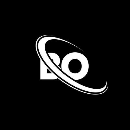 BO logo. B O design. White BO letter. BO/B O letter logo design. Initial letter BO linked circle uppercase monogram logo. Çizim