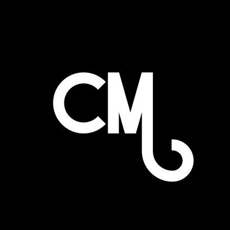 CM letter logo design on black background. CM creative initials letter logo concept. cm letter design. CM white letter design on black background. C M, c m logo