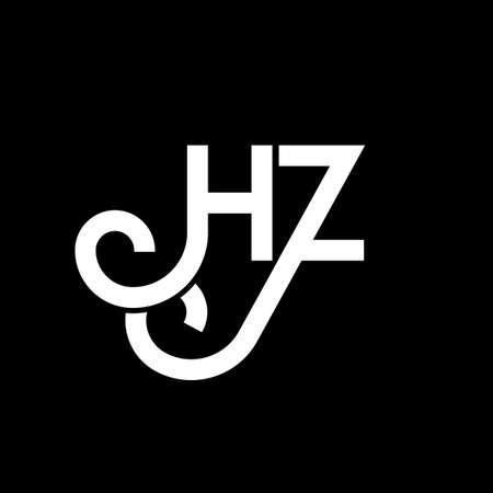 HZ letter logo design on black background. HZ creative initials letter logo concept. HZ letter design. HZ white letter design on black background. H Z, h z logo