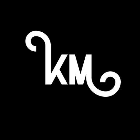 KM letter logo design on black background. KM creative initials letter logo concept. km letter design. KM white letter design on black background. K M, k m logo