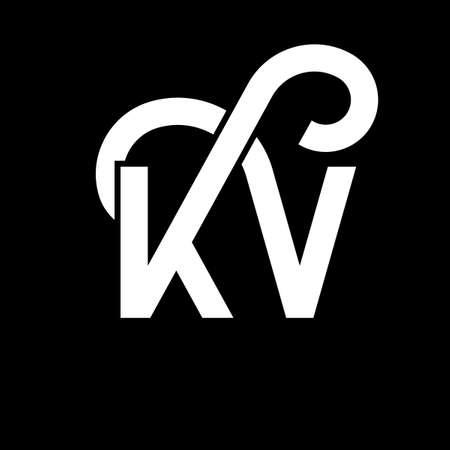 KV letter logo design on black background. KV creative initials letter logo concept. kv letter design. KV white letter design on black background. K V, k v logo