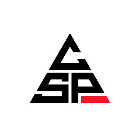 CSP triangle letter logo design with triangle shape. CSP triangle logo design monogram. CSP triangle vector logo template with red color. CSP triangular logo Simple, Elegant, and Luxurious Logo.