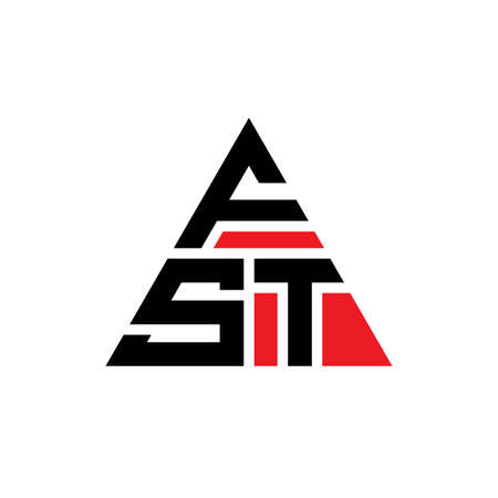 FST triangle letter logo design with triangle shape. FST triangle logo design monogram. FST triangle vector logo template with red color. FST triangular logo Simple, Elegant, and Luxurious Logo. Logó