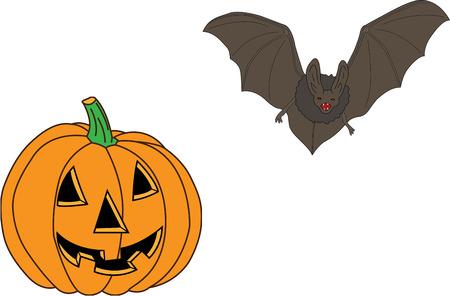 pranks: pumpkin and bat, Halloween symbols and attributes Illustration