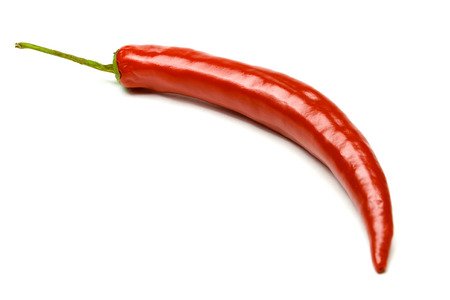 chili: Red hot chili pepper isolated on a white background Stock Photo