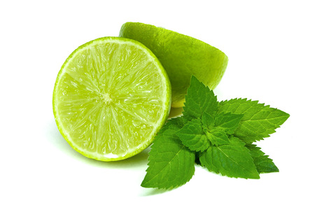 mint leaves: Lime with mint on white background