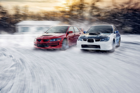 cars race: Two cars in drift race Editorial