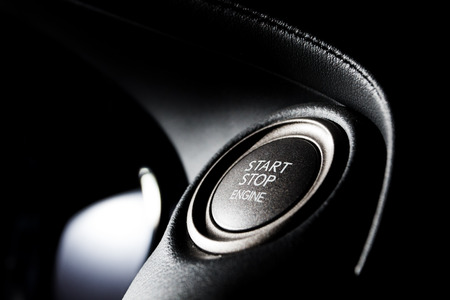 Start stop engine modern new car button
