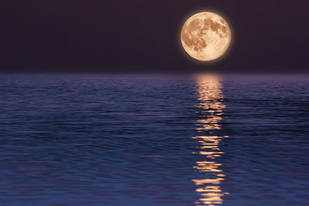 Moon reflected on water. Beautiful nature landscape