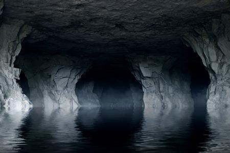 Fiume sotterraneo in una grotta di pietra scura Archivio Fotografico - 53286893