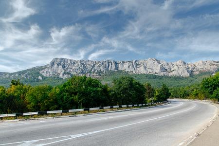 high mountain: Mountains tree road in Crimea. Nature landscape