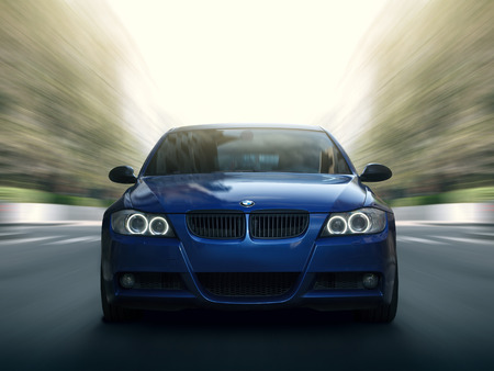 bmw: Moscow, Russia - May 10, 2015: Blue car BMW 5 series E90E91 Fast speed drive on city road Editorial