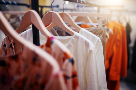 clothing rack: Clothing on hanger at the modern shop boutique