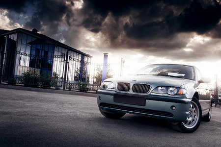 Saratov, Russia - August 20, 2014 - Car BMW E46 stay in the city at sunset