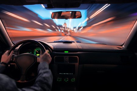 speed car: Car speed night drive on the road in city