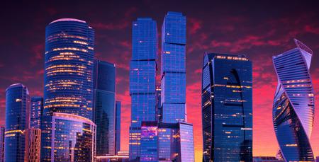 international business center: Moscow-city, Russia. Moscow International Business Center. at sunset