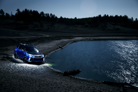 forester: Saratov, Russia - September 28, 2015: Car Subaru Forester stand at countryside off-road at night
