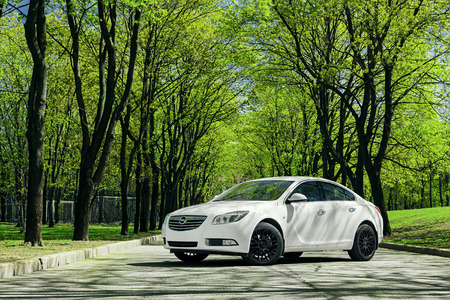 insignia: Moscow, Russia - May 07, 2015: Car Opel Insignia stand on asphalt road in green forest at daytime