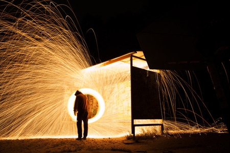 steel wool: Steel wool spinning, fire shower concept abstract background Stock Photo
