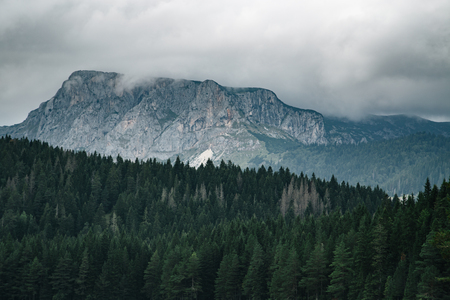 High mountain at cloudy daytime. Beautiful nature landscape