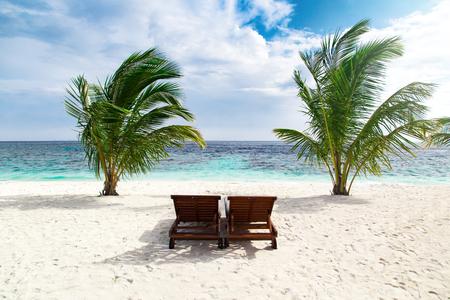 Sunbeds on sand beach at tropical island resort