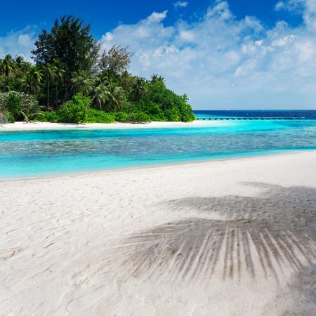 uninhabited: Beautiful nature landscape of tropical island at daytime, Maldives