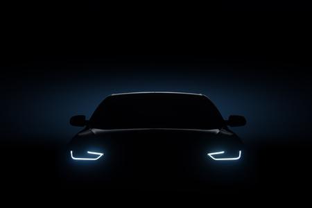 Auto blauwe koplampen, vorm concept kunst donker