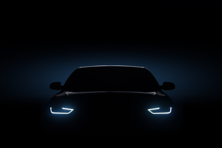 Car blue headlights, shape concept art dark