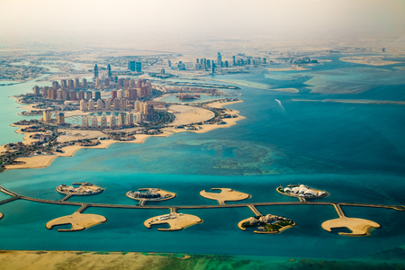 Veduta aerea della città di Doha, capitale del Qatar Archivio Fotografico - 77037982