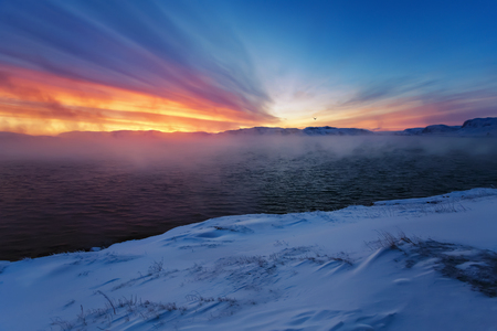 evaporacion: Winter coast of Barents Sea. Kola Peninsula, Russia