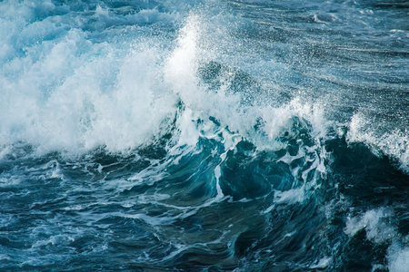 Big stormy ocean wave. Blue water background. Stock Photo