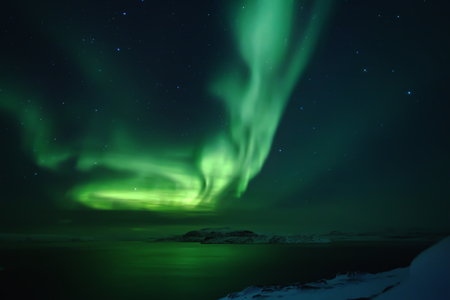Northern lights. Aurora borealis nature landscape at night Stock Photo