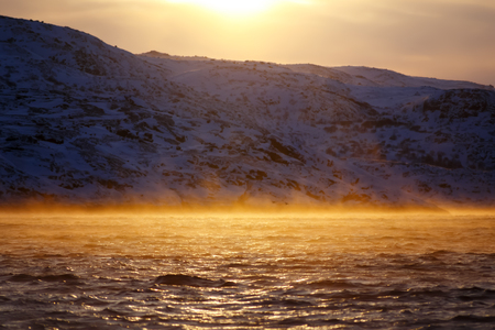 evaporacion: Barents Sea in Arctic Ocean at sunrise