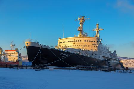 Murmansk, Russia - February 25, 2017: First atomic nuclear-powered icebreaker Lenin Redakční