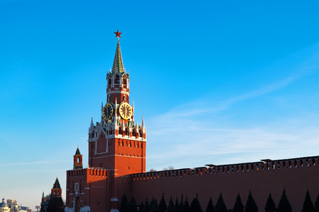 spasskaya: Kremlin in Moscow at sunset. Red Square, Russia