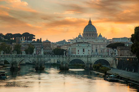 View to bridge and Vatican City at sunset. Rome, Italy