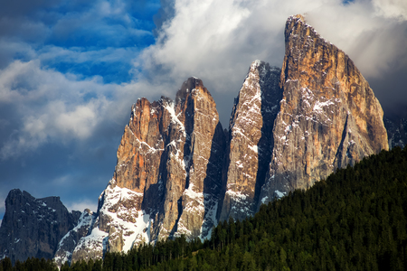 Dolomites Italian Alps at springtime. Beautiful nature landscape Stock Photo