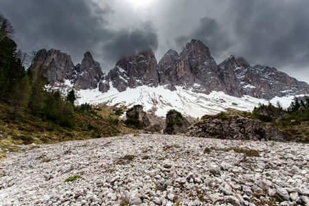 High snowy mountains, nature landscape. Dolomites Alps