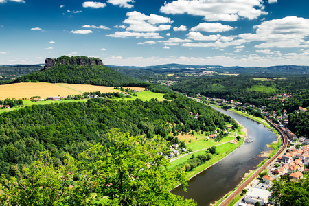 View to Elbe river from Konigstein fortress at Germany Stock Photo