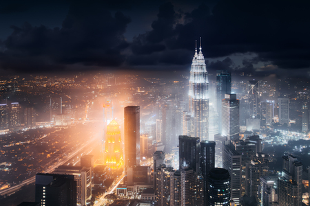 Aerial skyline view to Kuala Lumpur city, Malaysia. Business skyscrapers night downtown background Editorial