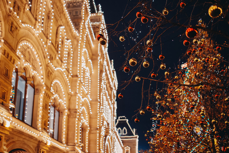 shopping mall gum illuminated at night moscow russia christmas winter decorated stock photo - Russia Christmas