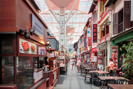 Singapore, Singapore - October 15, 2017: Smith St in Chinatown district at Singapore city. Street with food courts and restaurants