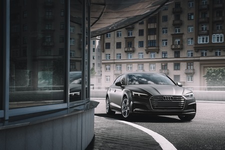 Moscow, Russia - June 17, 2017: Car Audi A5 Sportback wrapped in grey color matte vinyl is standing on the parking