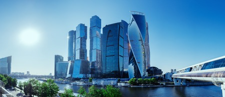 Panoramic view of Moscow-City and Moscow River. International business center in the daytime 写真素材