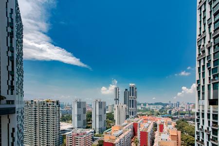 Singapore city skyline landscape at blue sky. Urban skyscrapers cityscape Reklamní fotografie
