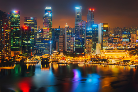 Singapore city skyline. Business district aerial view. Stok Fotoğraf