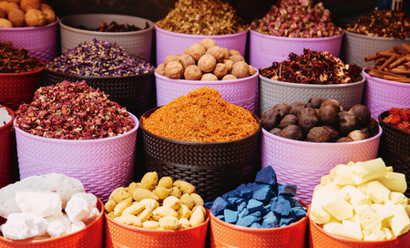 Herbs and spices market in the middle east traditional souk Stock Photo