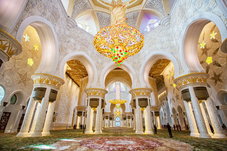 Sheikh Zayed Grand Mosque interior in Abu-Dhabi in the day